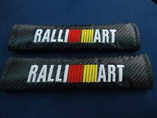 RALLIART SEAT BELT COVER SHOULDER PADS CARBON BLACK X 2 PIECES
