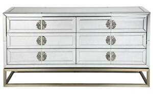 Virgil Antiqued Mirrored Chest Drawer