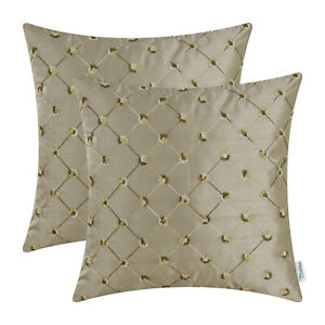 2Pcs Taupe Cushion Cover Pillow Shell Embroidered Geometric Chain Home 45 x 45cm