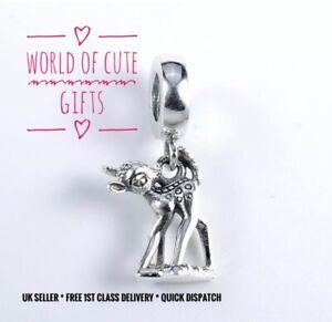 🖤🎀 BAMBI Charm Disney Fits European Bracelets Silver Tone * Gift Wrapped *