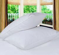4 Pack Pillow Protectors Zipped Case Covers Piping 100% Cotton Percale Easy Care