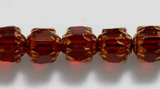 6mm Cathedral, Garnet with Gold, Czech Glass, 25 beads, dk red fire polish