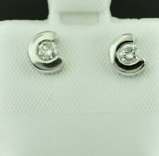 18k  white gold diamond  stud earring  solitaire 0.25 ct