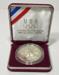 1988 PROOF SILVER DOLLAR OLYMPIC COIN WITH BOX US MINT