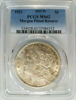 1921 Silver Morgan Dollar PCGS MS 62 Vam 41B Pitted Reverse Mint Error Rare Coin
