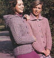 "Ladies Jacket with Hood option in Chunky Knitting Pattern 32-40"" 740"