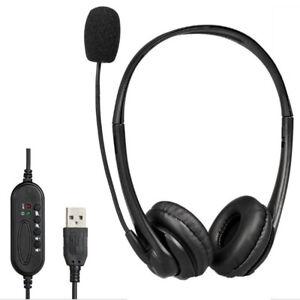 USB Wired Headband Headset Customer Service Gaming Headphones Earphones For PC!