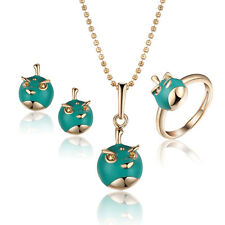 18 k gold plated Green Jewellery Small Girls Baby Necklace Ring Earrings S867