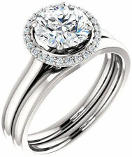 1.13 ct total Round Diamond Engagement Wedding 14k White Gold Halo Ring G Si1