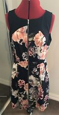 Portmans Ladies Floral Size 14 Zip Front Dinner Dress Rrp$130