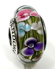 Authentic pandora  silver 925 Ale bead charm murano glass  pink purple flower