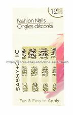 SASSY+CHIC*12pc Fashion Nails FUN & EASY Glue-On *YOU CHOOSE* Various/Short 1/10