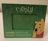 Walt Disney World Winnie the Pooh Cuddly Snuggle Green Frame Holds Photo Frame