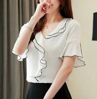 2019 New Summer Women Ruffle V Neck Bell Short Sleeve Chiffon T Shirt Blouse Top