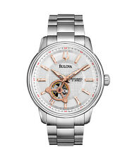 Bulova Men's 96A143 Automatic Rose Gold Markers Silver-Tone Bracelet 45mm Watch