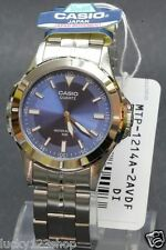 MTP-1214A-2A Blue Casio Men's Watches Stainless Steel Analog Water Resistant New