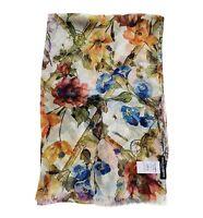 NWT 345GBP DOLCE & GABBANA SICILY FLOWERS PRINTED SILK TWILL SCARF WRAP SHAWL
