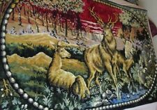 "Large Vintage Tapestry Wall Hanging Deer Buck and Does 75"" x 47"" Made in Italy"