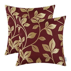 2Pcs Gold Burgundy Cushion Covers Pillow Shell Case Growing Leaves Car 45 x 45cm