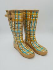 Womens SPERRY RUBBER BOOTS Wo's Sz7 Plaid knee winter Rain Top Sider
