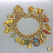 1930s Antique Germany 14k Solid Yellow Gold World Travel Charm Bracelet