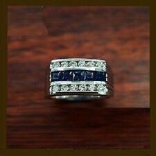 White Gold Fn Sapphire & Diamond Pinky Mens Engagement Wedding Band Ring 2Ct