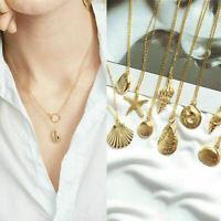 Women Gold Shell Cowrie Beach Sea Pendant Choker Chain Necklace Fashion Jewelry