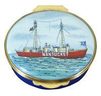 Crummles Nantucket Island Boat Lightship Red Bucket Limoges Pill Trinket Box