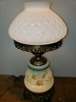 GWTW VINTAGE 3-WAY FANCY MILK-GLASS HURRICANE LAMP