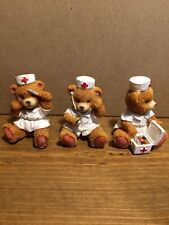 Lot Of 3 Teddy Bear Doctor And Nurses 2 1/2� Made In China
