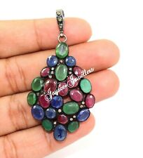 Real Ruby, Emerald, And Tanzanite Gemstone With Diamond Victorian Silver Pendant