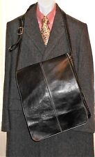 "Royce 17"" Vertical Leather Messenger Lap Top Document Travel College Bag  Black"