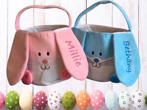 Personalised Large Easter Bunny Egg Hunt Gift Bag Basket Boy Girl Kids