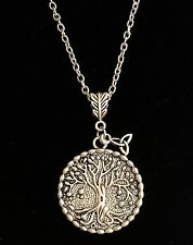 "Silver Tree of Life Necklace Celtic Knot Trinity Vintage Plated Long 24"" Plus"