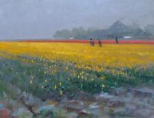 "ORIGINAL MICHAEL RICHARDSON ""Yellow Tulips"" Dutch Flower Field of Gold  PAINTING"