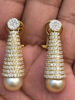 Pave 21,66 Cts Runde Brilliant Cut Diamanten Perle Baumeln Ohrringe In 14K Gold