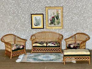 1:12 Dollhouse Victorian cane rattan living room set wine/gold/green