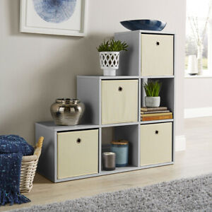 Grey Step Style Storage Cube 6 Shelf Bookcase Wooden Display Staircase