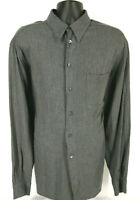 ERMENEGILDO ZEGNA Mens Dark Gray Plaid Long Sleeve Rayon Shirt Tag Size XL