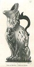 Vase de Meissen porcelaine Saxe Musée de Sèvres Paris GRAVURE ANTIQUE PRINT 1894