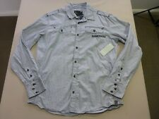 106 MENS NWT G-STAR RAW GREY / WHITE STRIPE L/S SHIRT XL $180 RRP.