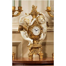 French Baroque Style Ornate Dancing Cherubs Quartz Mantel Clock