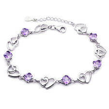 925 Sterling Silver Heart Hollow Bracelet Charm Jewellery Womens Ladies Gifts UK