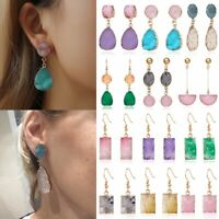 Fashion Geometric Natural Stone Crystal Quartz Ear Stud Raw Amethyst Earrings