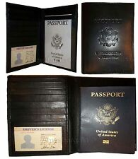 New Lambskin USA Leather passport Holder wallet credit card case ID holder BNWT