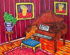 Norfolk Terrier Playing Piano Dog art print 11x14