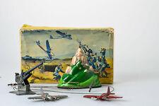 #Antique Tin Toy# Tippco Hausser Military Flak Airplane Germany Werhmacht Box