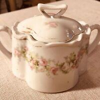 Antique Porcelain Sugar Bowl W Lid Bavaria White W Pink Roses Gold Trim Cottage
