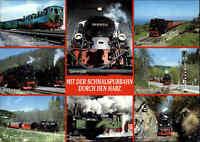 Eisenbahn Motiv-AK Lokomotive Kleinbahn Dampflok Schmalspurbahnen im Harz gebr.