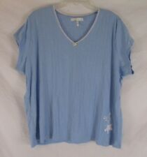 Carole Hochman Womens Sleep Shirt Blue Sz 2X Pajama Top Cotton Pull On CB18H